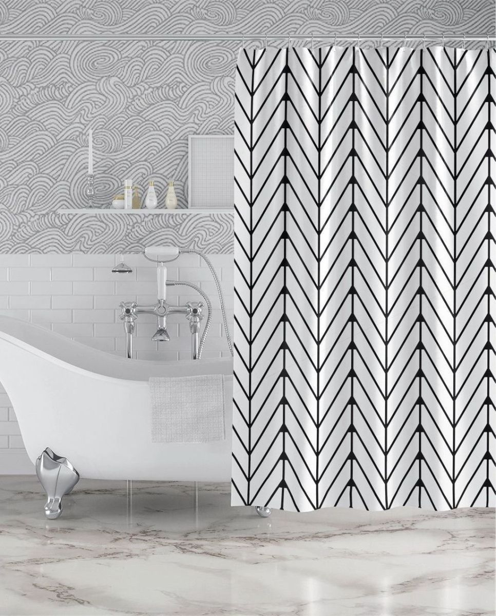 Amazing Black And White Shower Curtain For Your Bathroom Decor 11