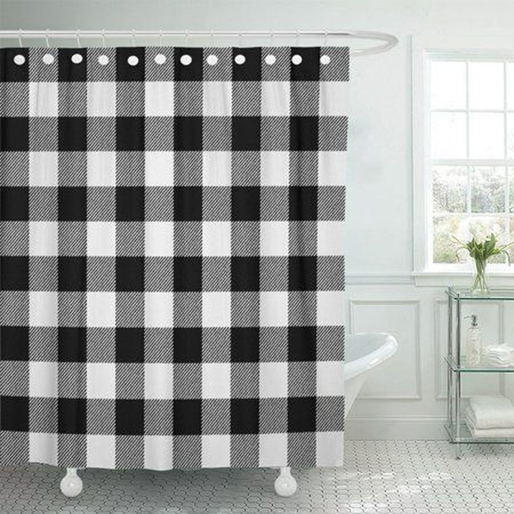 Amazing Black And White Shower Curtain For Your Bathroom Decor 15