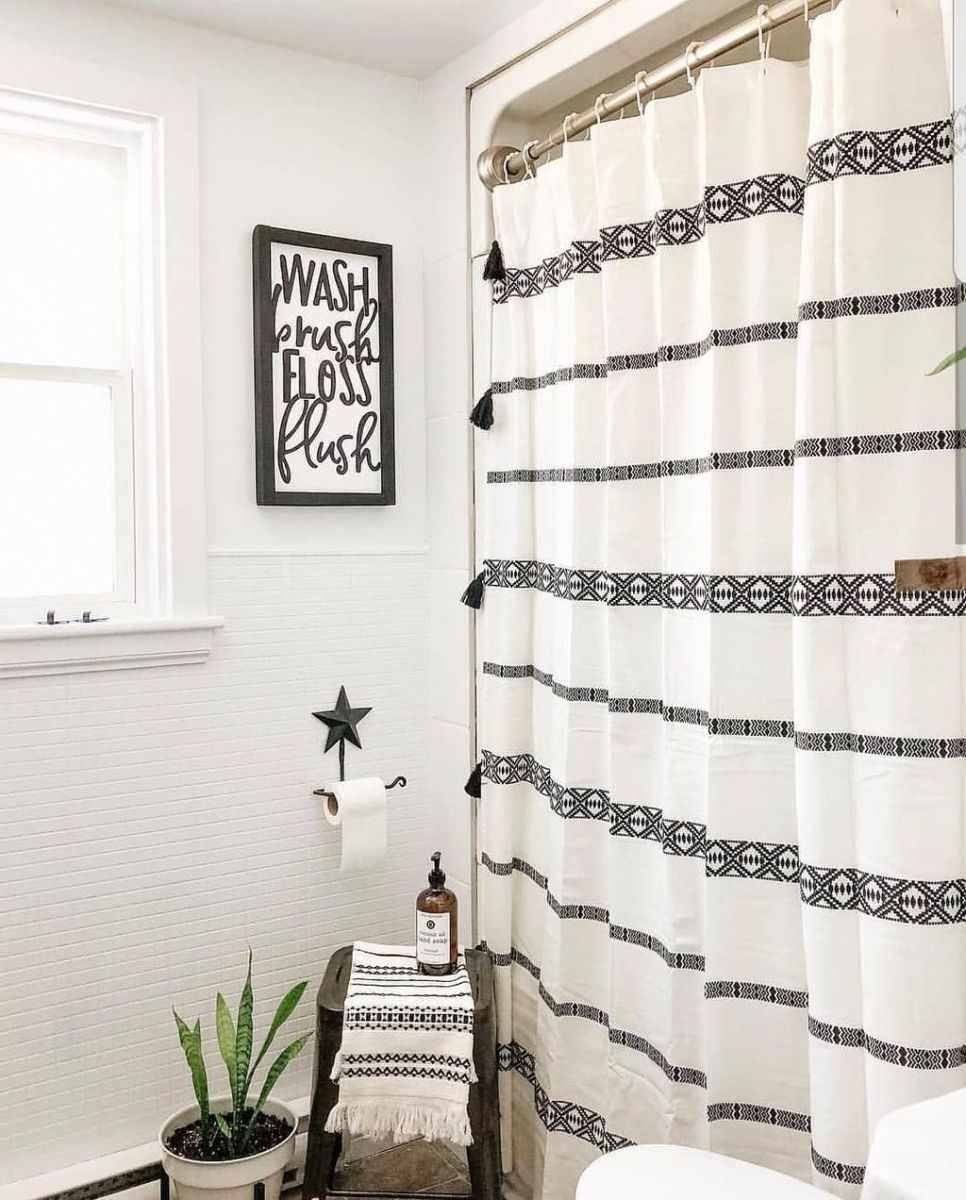 Amazing Black And White Shower Curtain For Your Bathroom Decor 18