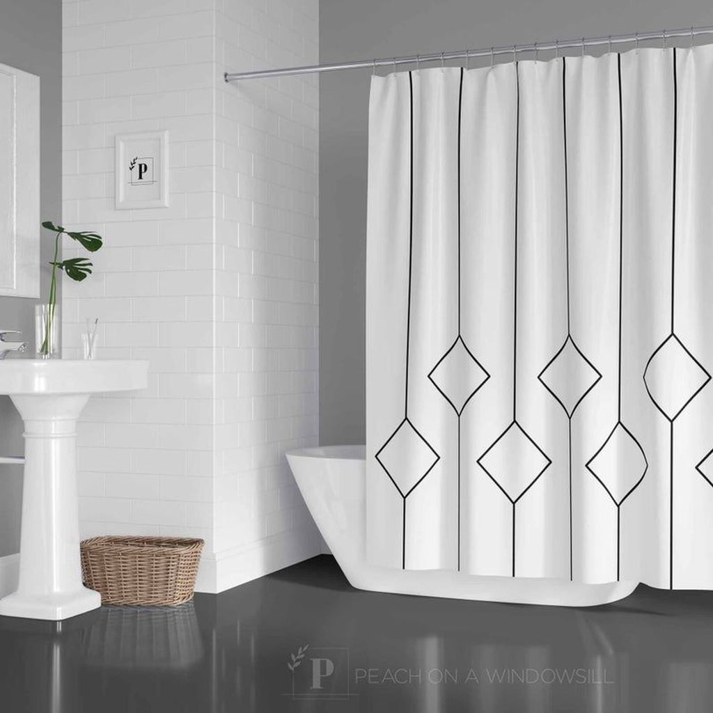 Amazing Black And White Shower Curtain For Your Bathroom Decor 19