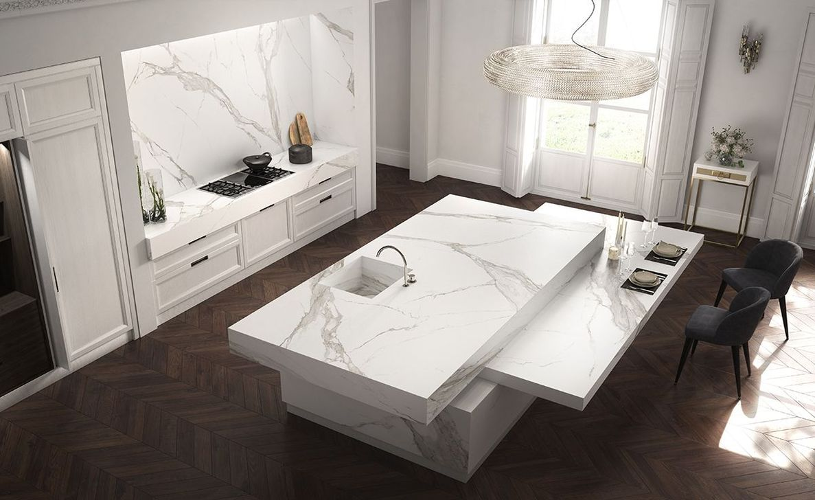 Beautiful Kitchen Design Ideas With Porcelain Slab Countertop 01