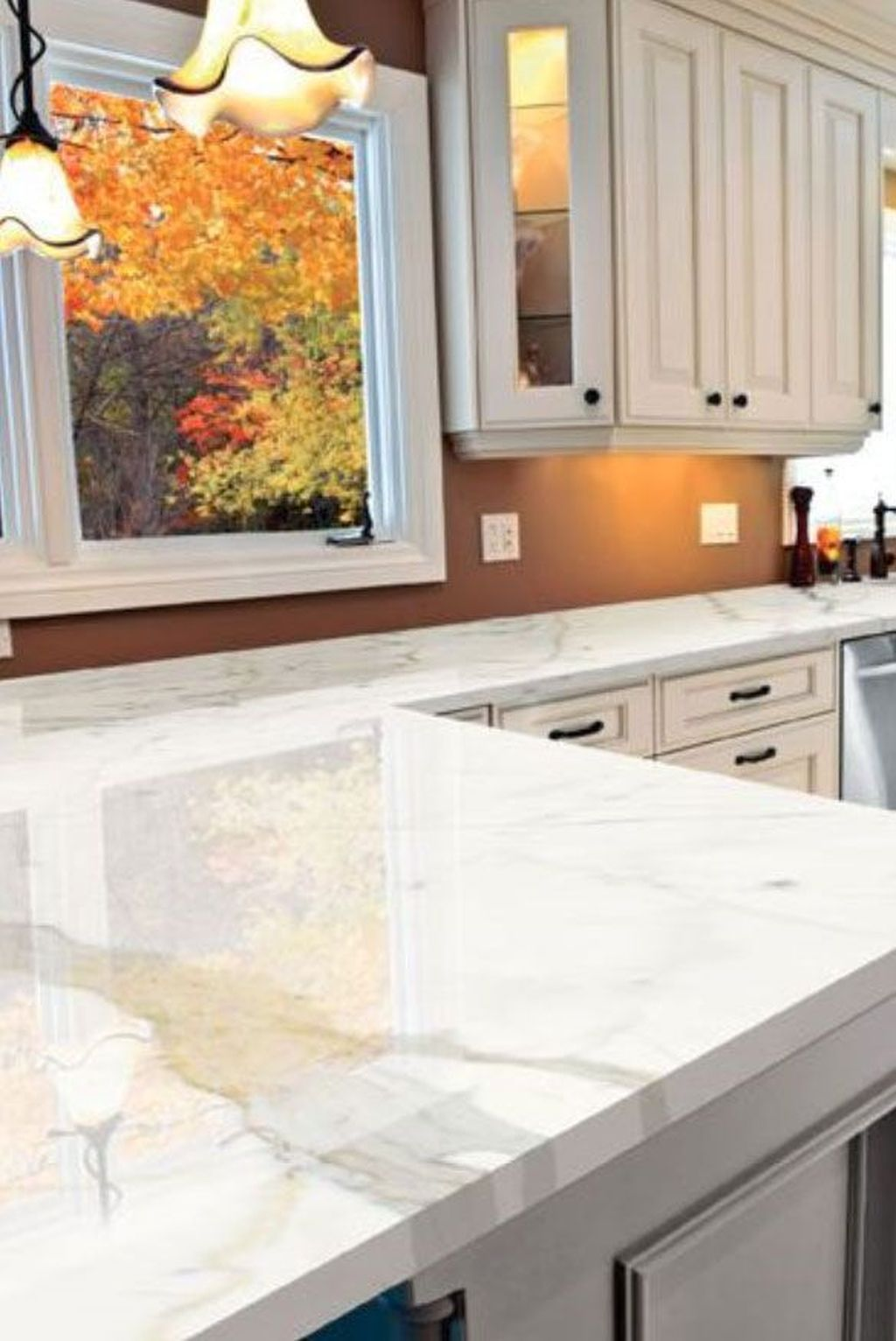 Beautiful Kitchen Design Ideas With Porcelain Slab Countertop 35