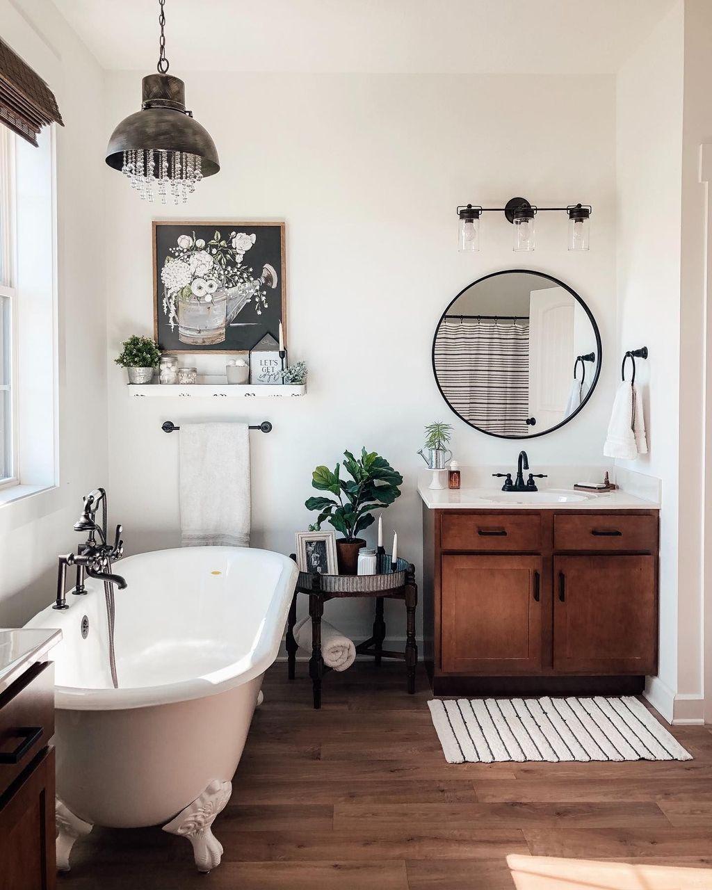 Lovely Relaxing Farmhouse Bathroom Decor Ideas 08