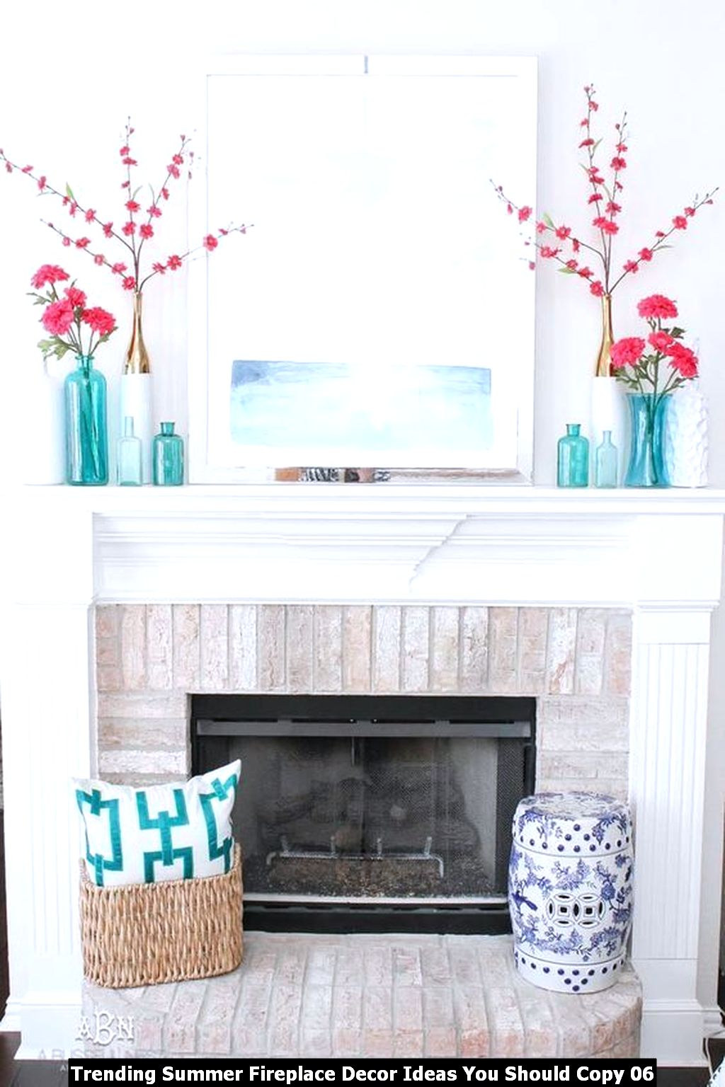 Trending Summer Fireplace Decor Ideas You Should Copy 06