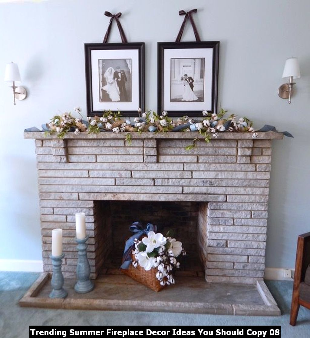 Trending Summer Fireplace Decor Ideas You Should Copy 08