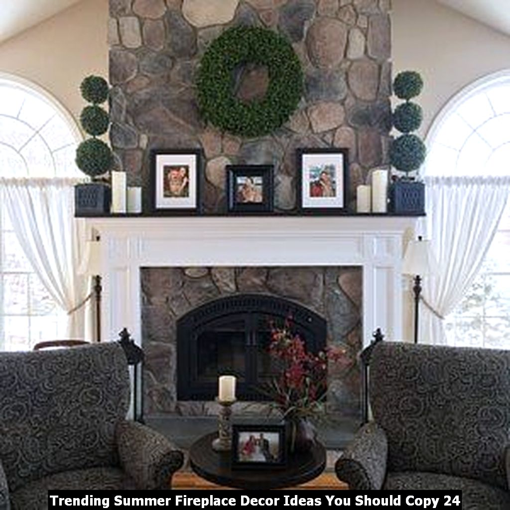 Trending Summer Fireplace Decor Ideas You Should Copy 24