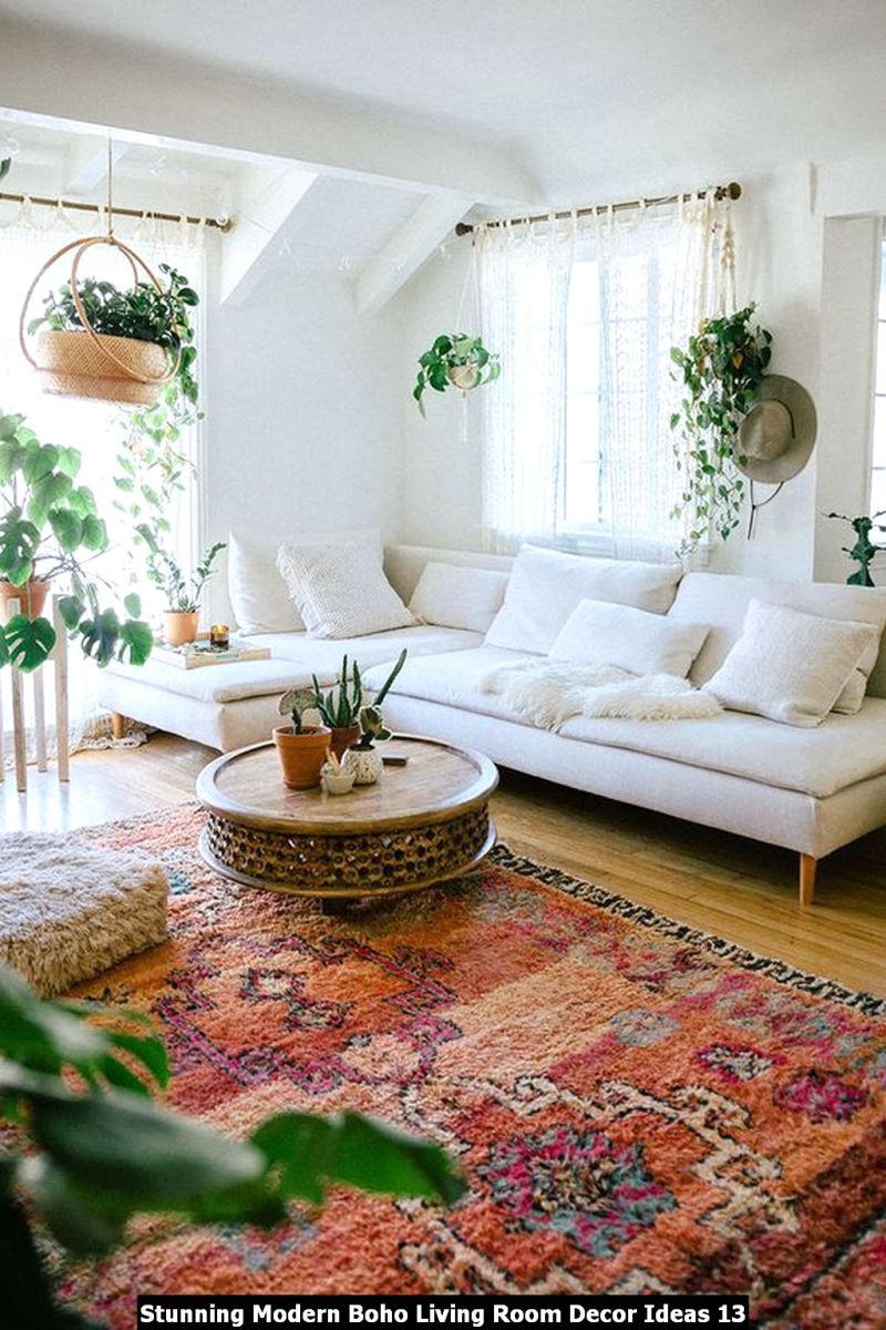 Stunning Modern Boho Living Room Decor Ideas 13