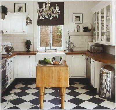 Black And White Tile Kitchen