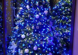 White Christmas Tree With Blue Lights