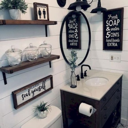 Adorable Farmhouse Bathroom Decor Ideas That Looks Cool 06