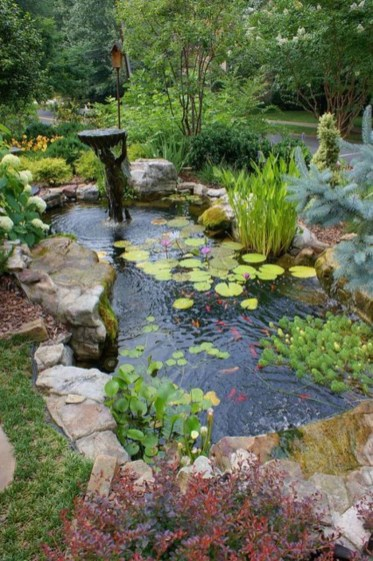 Cool Fish Pond Garden Landscaping Ideas For Backyard 01