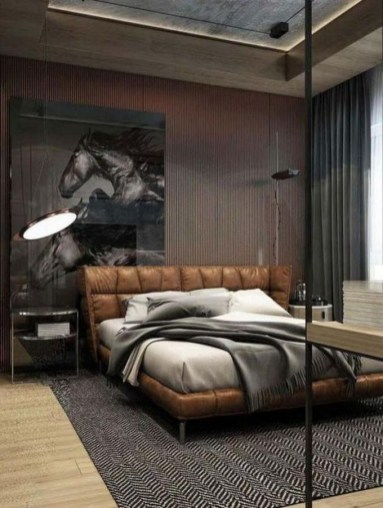 Masculine And Modern Man Bedroom Design Ideas 29