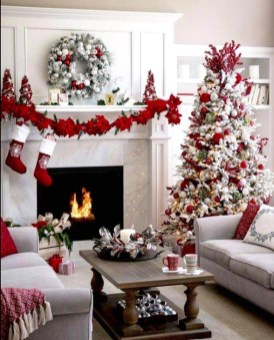 Awesome Red And White Christmas Tree Decoration Ideas 14