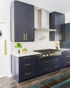 Elegant Navy Kitchen Cabinets For Decorating Your Kitchen 03