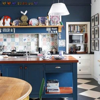 Elegant Navy Kitchen Cabinets For Decorating Your Kitchen 08