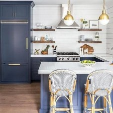 Elegant Navy Kitchen Cabinets For Decorating Your Kitchen 37
