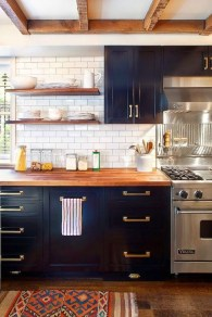 Elegant Navy Kitchen Cabinets For Decorating Your Kitchen 44