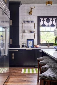 Elegant Navy Kitchen Cabinets For Decorating Your Kitchen 46