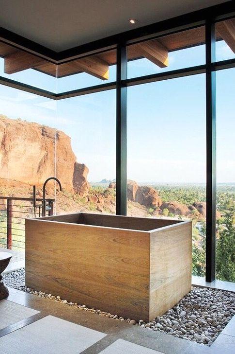 Marvelous Wooden Bathtub Design Ideas To Get Relax 44