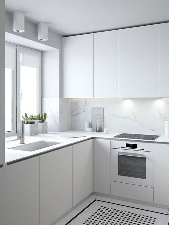 Minimalist Small White Kitchen Design Ideas 20