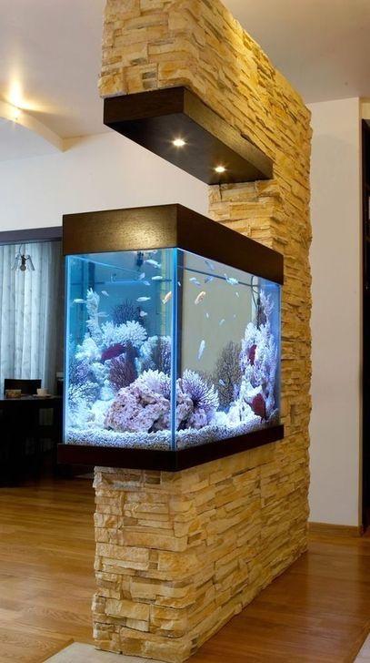 Modern Aquarium Partition Ideas For Living Room 49