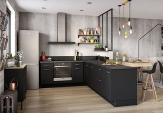 Stunning Dark Grey Kitchen Design Ideas 04
