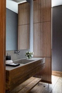 Elegant Wood Decor Ideas For Your Bathroom Design 39