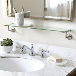 Perfect Glass Shelves Ideas For Bathroom Design 05