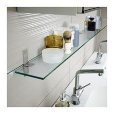 Perfect Glass Shelves Ideas For Bathroom Design 18