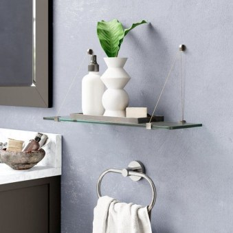 Perfect Glass Shelves Ideas For Bathroom Design 19