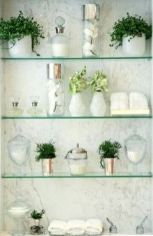 Perfect Glass Shelves Ideas For Bathroom Design 21