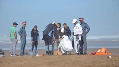 صورة العثور على جثة الغريق القاصر السينغالي،بشاطئ أكادير