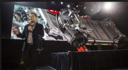 Elon musk with Tesla car release