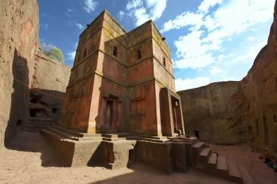 Unique monolithic rock-hewn Church of St. George (Bete Giyorgis) UNESCO World heritage Lalibela Ethiopia.