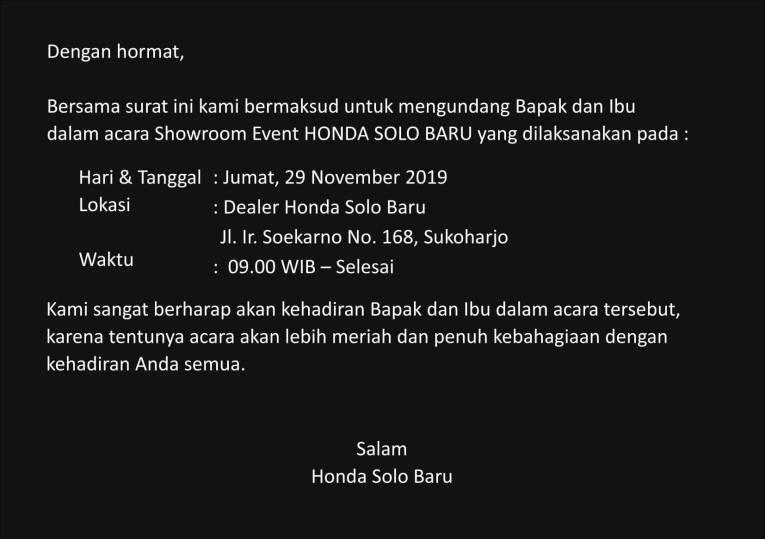 Undangan Promo Showroom Event Dealer Honda Solo Baru November