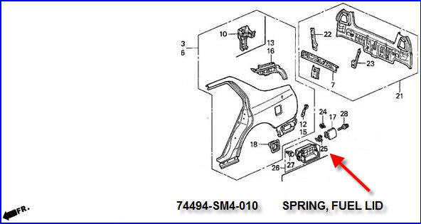 Honda Accord 1990 Fuel Filler Door