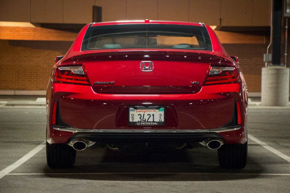 Rear view of the 2017 Honda Accord Coupe