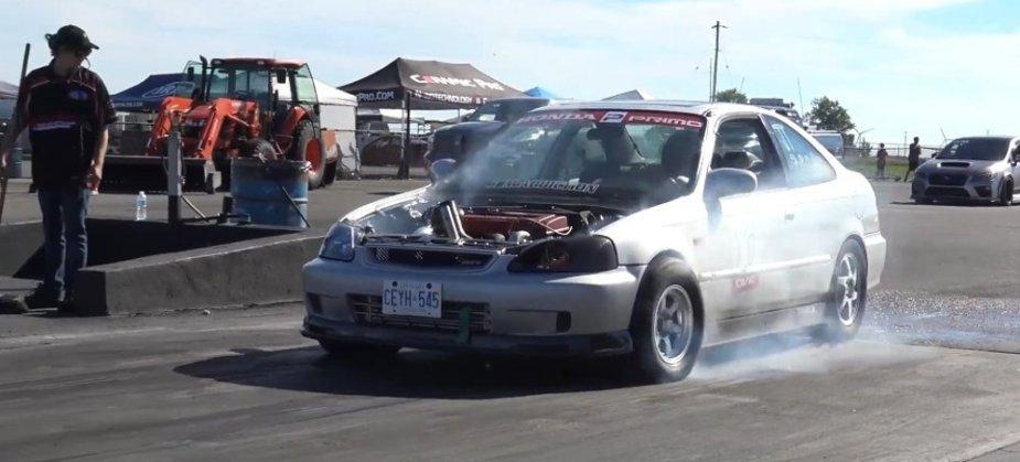 Honda Civic Drag Car Boosted Burnout