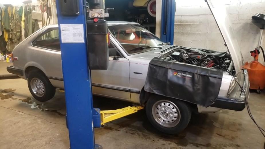 1981 Honda Accord on mechanic two-post lift