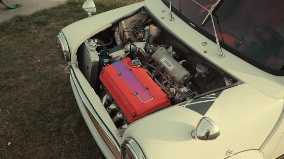 B Swapped Classic Mini engine bay