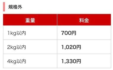 規格外定形外郵便料金表5-2