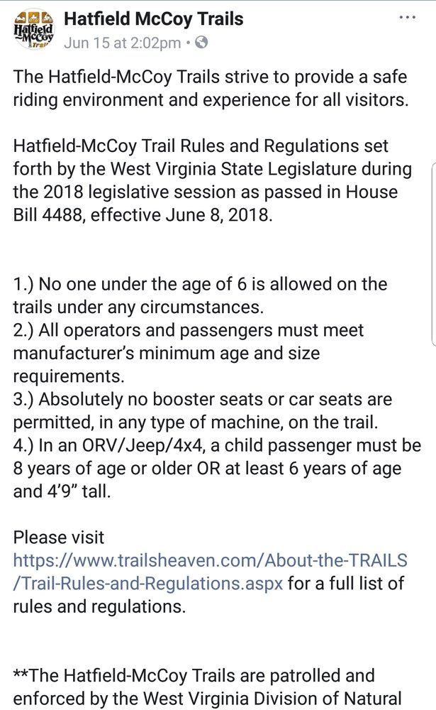 New Laws For Hatfield Mccoy Trails In Wv Hondasxs The Honda Side By Side Club