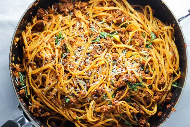 Simple Beef Linguine Pasta with Parmesan and Basil - Cooking Video ...