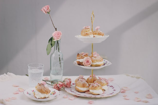 Rosewater Cream Puffs with Sugared Rose Petals-19