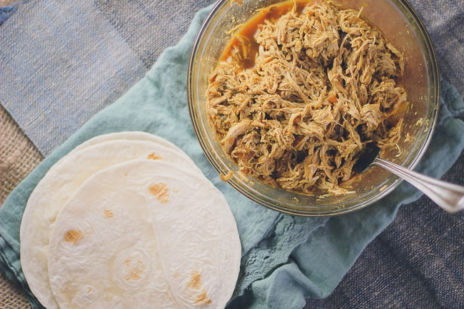 pulled chicken tacos with charred jalapenos