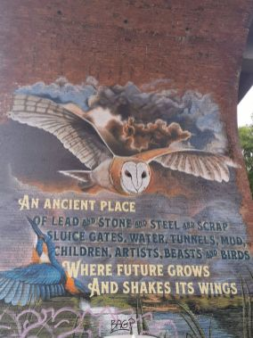 Mural on an arch of the Byker Bridge