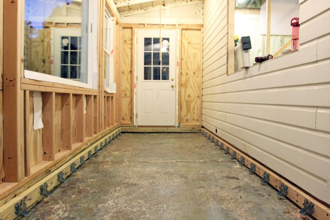 The floor of the porch before the joists