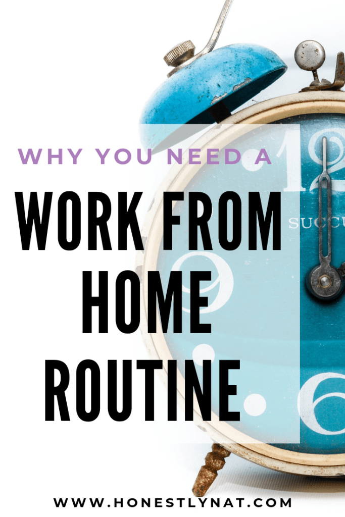 "Teal blue alarm clock with the text overlay ""Why you need a work from home routine"""