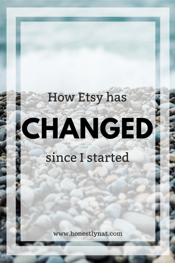 """Rocks being washed with waves at the ocean with text overlay """"How Etsy has changed"""""""