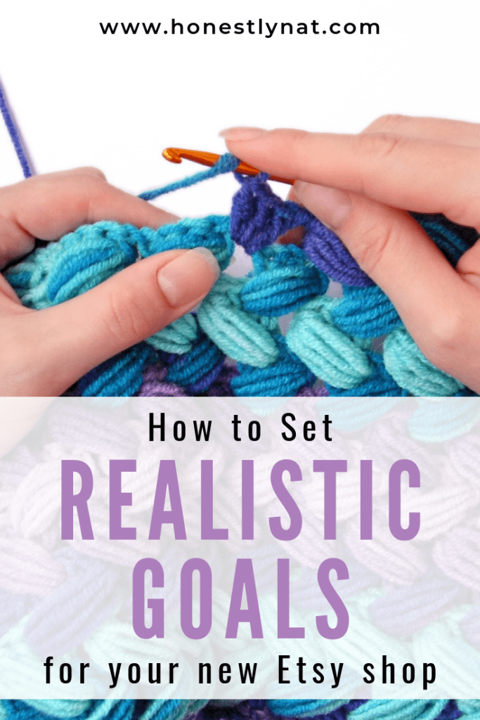 "Woman knitting with the text overlay ""How to set realistic goals for your new Etsy shop"""